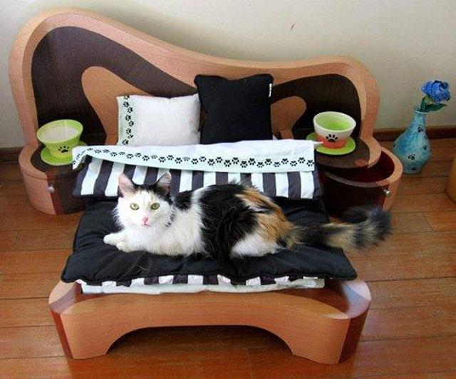 Из чего сделать кровать для кошки своими руками 450