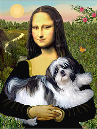 mona lisa & shih tzu the post card
